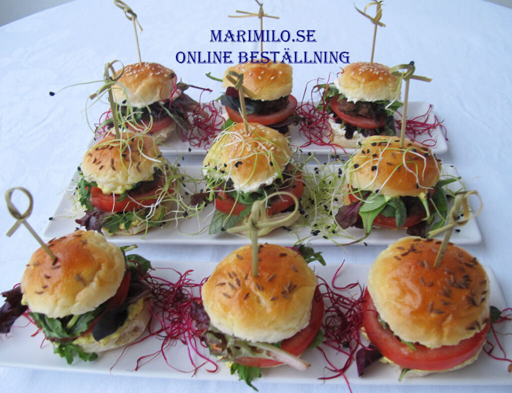 Mingel mat mini burgare, catering Stockholm