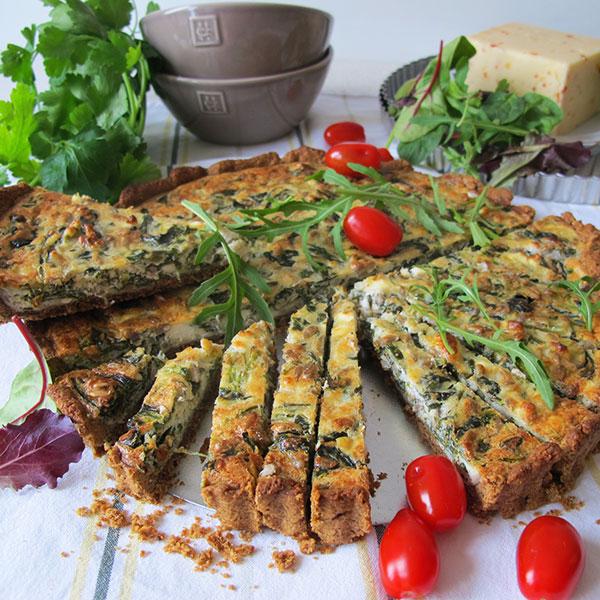 Glutenfri vegetarisk paj med spenat och feta ost