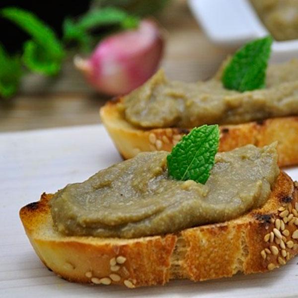 Vegan Bruschetta/ Crostini med Aubergine dip