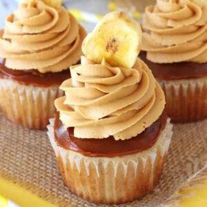 Dulce de leche och banan cupcakes